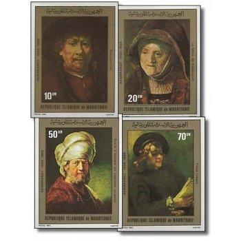 """Rembrandt """"Gemälde"""" - 4 Briefmarken ungezähnt postfrisch, Katalog-Nr. 686-689, Mauretanien"""