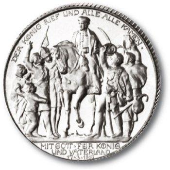 2 Mark Silbermünze, 100 Jahre Befreiungskrieg, Katalog-Nr. 109, Königreich Preußen