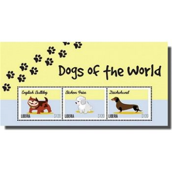Hunde - Briefmarken-Block, Liberia