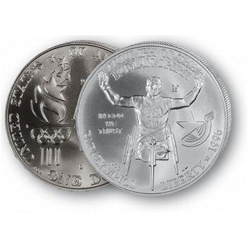 Olympiade Atlanta: Rollstuhlfahrer - Silberdollar 1996, 1 Dollar Silbermünze, USA