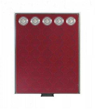 Münzbox RAUCHGLAS mit 35 runden Vertiefungen für Münzkapseln mit Außen-Ø 34 mm, dunkelrote Einlage,