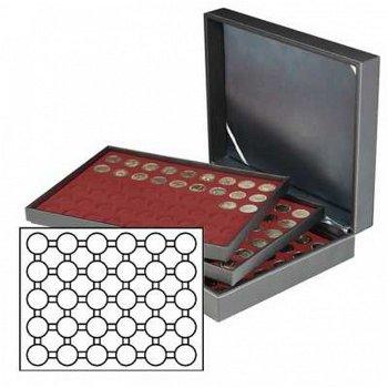 Münzkassette NERA XL mit 3 Tableaus, dunkelrote Münzeinlagen f. 90 Münzkapseln mit Außen-Ø 37 mm, z.