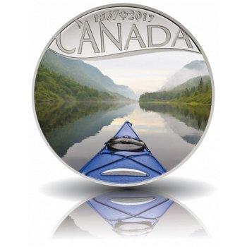 Kayak auf dem Fluss, 10 Dollar Silbermünze mit Farbauflage, Canada