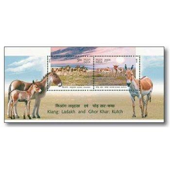 Tiere: Wildesel - Briefmarken-Block postfrisch, Indien