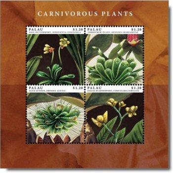 Fleischfressende Pflanzen - Briefmarken-Block postfrisch, Palau