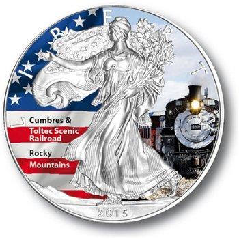 Amerikanische Wahrzeichen: Scenic Railroad, Silbermünze mit Farbauflage, USA