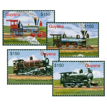 Dampflokomotiven - 4 Briefmarken postfrisch, Guyana