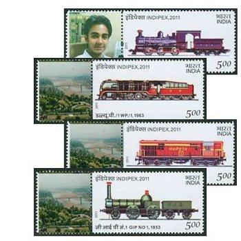 Internationale Briefmarkenausstellung INDIPEX 2011, Neu-Delhi: Lokomotiven - Briefmarken postfrisch,