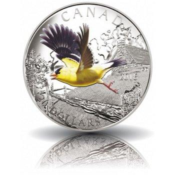 Schutz des amerikanischen Goldfinks, 20 Dollar Silbermünze mit Farbauflage, Canada