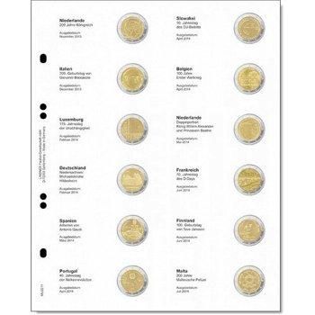Lindner Vordruckblatt für 2 Euro-Gedenkmünzen: Niederlande 2013 - Malta 2014, LI MU2E11