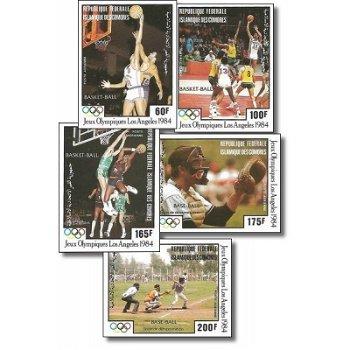 Olympische Sommerspiele, Los Angeles – Briefmarken postfrisch, ungezähnt, Katalog-Nr. 712-716, Komor