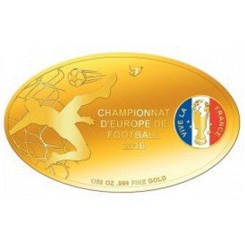 Fußball EM in Frankreich, Goldmünze mit Farbauflage, Mali