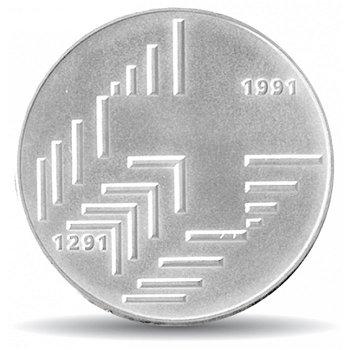 700 Jahre Eidgenossenschaft, 20 Franken Münze 1991 Schweiz, Stempelglanz