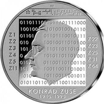 100. Geburtstag Konrad Zuse, 10-Euro-Silbermünze 2010, Stempelglanz