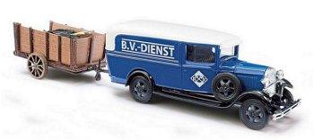 Modellauto:Ford Model AA Aral mit Anhänger- B.V.-Dienst -(Busch, 1:87)
