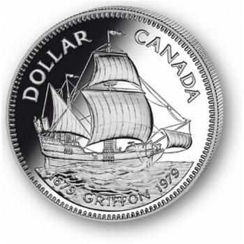 Handelsschiff Griffon - Silberdollar 1979, 1 Dollar Silbermünze, Canada