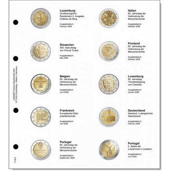 Lindner Vordruckblatt inkl. Münzblatt für 2 Euro-Gedenkmünzen chronologisch: Luxemburg 2008 - Portug