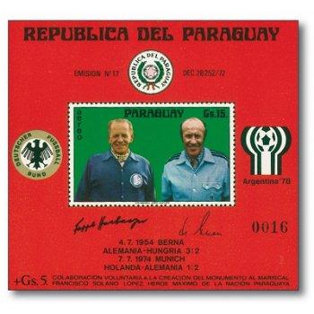 Fußball-Weltmeisterschaften: Sepp Herberger und Helmut Schön - Briefmarken-Block postfrisch, Katalog