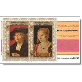 Albrecht Dürer - Briefmarken-Block postfrisch, Katalog-Nr. 218-219A Bl. 21A, Aden/Kathiri State of S