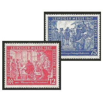 Leipzig Autumn Fair 1947 - 2 stamps mint never hinged, catalog no. 965-966, Allied occupation