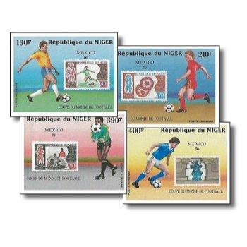 Fußballweltmeisterschaft 1986 - 4 Briefmarken ungezähnt postfrisch, Katalog-Nr. 991-994, Niger