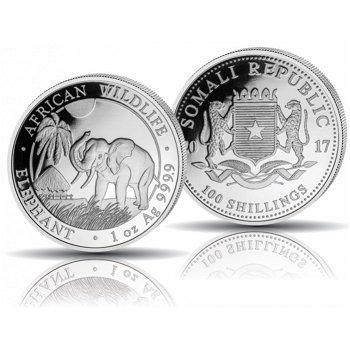 African Wildlife: Elefant, 100 Shilling Silbermünze 2017, Stempelglanz, Somalia