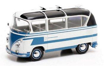Modellauto:VW T1 - Auwärter Carlux - , blau-weiß(Matrix, 1:43)