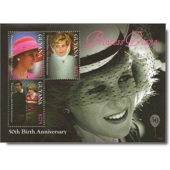50. Geburtstag von Prinzessin Diana - Briefmarken-Block postfrisch, Guyana