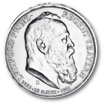 3 Mark Silbermünze, König Luitpold, Katalog-Nr. 49, Königreich Bayern