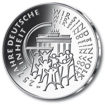 25 Euro Münze, 25 Jahre Deutsche Einheit, Stempelglanz, Deutschland 2015, alle fünf Prägezeichen