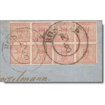 Waagrechtes Briefmarkenpaar auf Briefstück - Katalog-Nr. 1, Mecklenburg-Schwerin