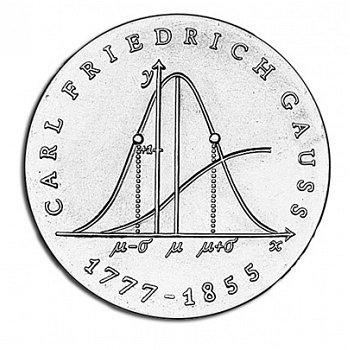 200. Geburtstag Carl Friedrich Gauss, 20 Mark Münze 1972, DDR