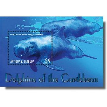 Zwerggrindwale - Briefmarken-Block postfrisch, Antigua Barbuda