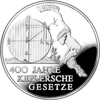 400 years of Kepler's Laws, 10 Euro silver coin 2009, Proof