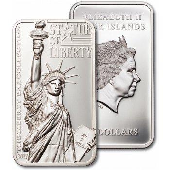 Freiheitsstatue, 2 Unzen Silbermünze 2017, polierte Platte, Cook Inseln