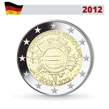 2 Euro Münze 2012, 10 Jahre Euro, Deutschland, 1 Prägezeichen