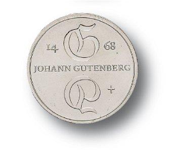 500. Todestag Johannes Gutenberg, 10-Mark-Münze 1968, DDR