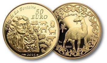 50 Euro Goldmünze Jahr der Ziege, Frankreich