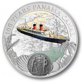 100 Jahre Panamakanal, 2 Dollar Silbermünze mit Farbauflage, Niue