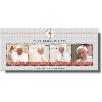 85. Geburstag von Papst Benedikt XVI. - Briefmarken-Block postfrisch, Grenada Carriacou & Petite