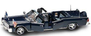 Modellauto:Lincoln X-100 - Kennedy Car - von 1961, dunkelblau(Yat Ming, 1:24)