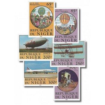 200 Jahre Luftfahrt - 6 Briefmarken ungezähnt postfrisch, Katalog-Nr. 825-830, Niger