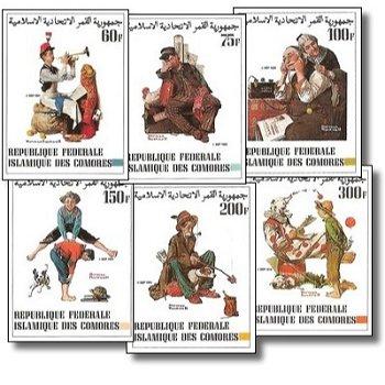 Gemälde von Norman Rockwell – Briefmarken postfrisch, ungezähnt, Katalog-Nr. 671-676, Komoren