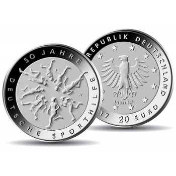 50 Jahre Deutsche Sporthilfe, 20 Euro Silbermünze 2017, Polierte Platte, Deutschland