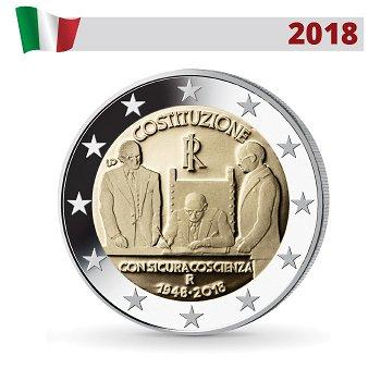 70. Jahrestag der italienischen Verfassung, 2 Euro Münze 2018, Italien