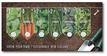Gemüsepflanzen - Briefmarken-Block mit Samen postfrisch, Neuseeland