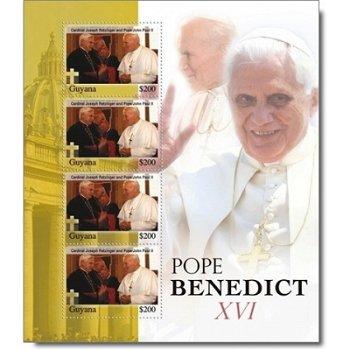 Papst Benedikt XVI. Briefmarken-Block postfrisch, Guyana