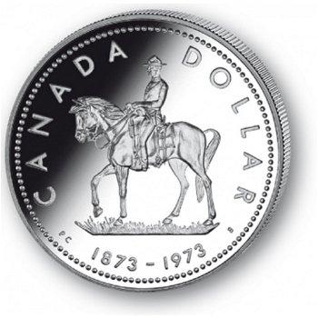 Mounted Police - Silberdollar 1973, 1 Dollar Silbermünze, Canada