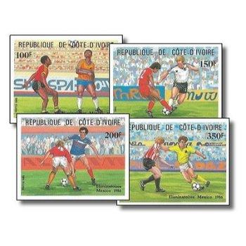 Ausscheidungsspiele zur Fußballweltmeisterschaft 1986, Mexiko - 4 Briefmarken ungezähnt postfrisch,