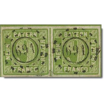 Briefmarkenpaar Bayern, Katalog-Nr. 5 d II gestempelt